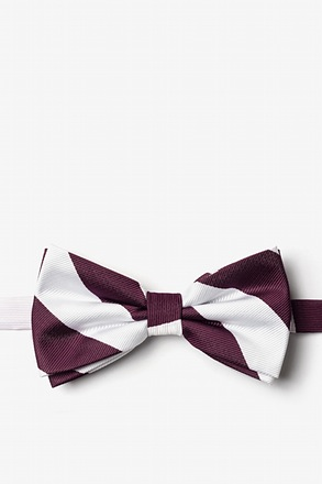 Maroon And White Pre-Tied Bow Tie