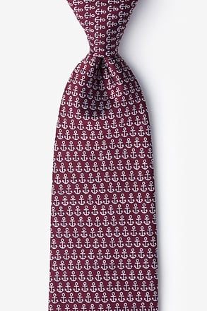 _Small Anchors Maroon Extra Long Tie_