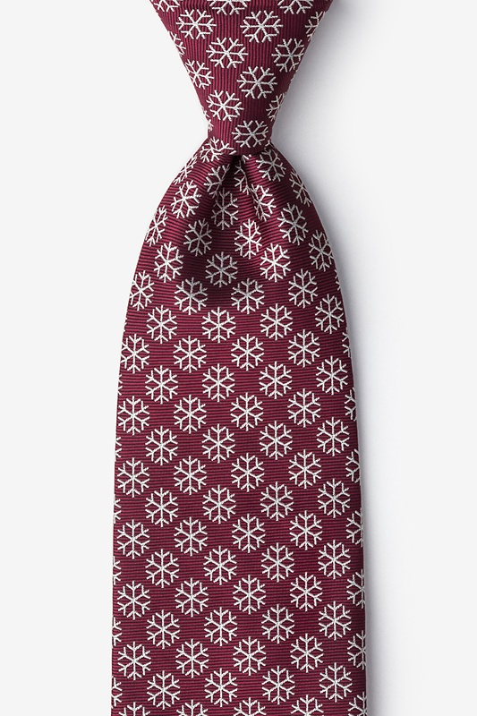 Snowflakes Maroon Extra Long Tie Photo (0)