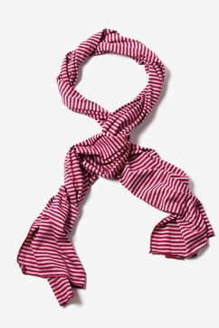 Mens Candy Stripe Maroon Scarf
