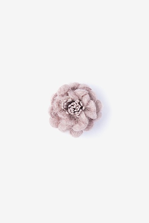 Rustic Yarn Flower Mauve Lapel Pin