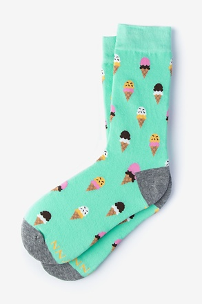 Ice Cream Cone Mint Green Women's Sock