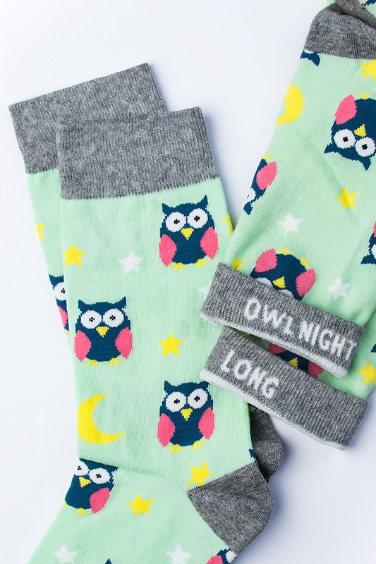 Owl Mint Green Women's Sock Photo (1)