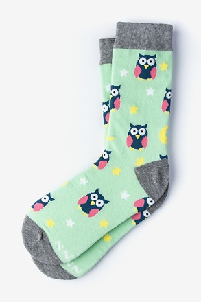 Owl Night Long Mint Green Women's Sock