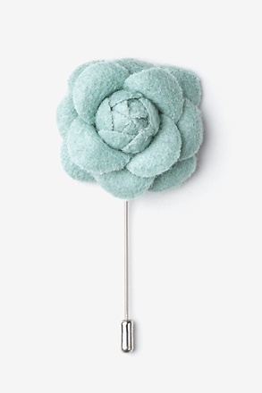 _Mint green Wool Felt Rose Lapel Pin_