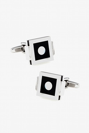 _Clasped Patterned Square Mother Of Pearl Cufflinks_