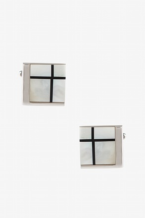 _Corner Square Mother Of Pearl Cufflinks_