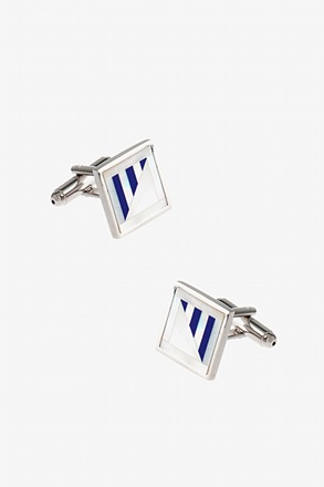 _Flat Square Pattern Mother Of Pearl Cufflinks_
