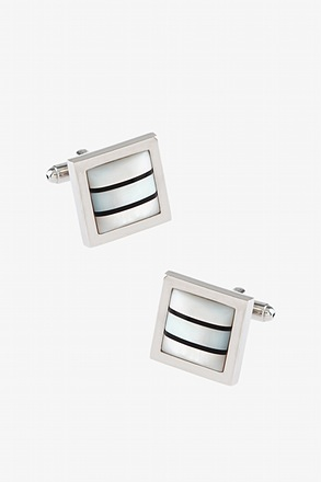 _Framed Pearl Stripe Mother Of Pearl Cufflinks_