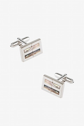_Illusionary Stripe Mother Of Pearl Cufflinks_