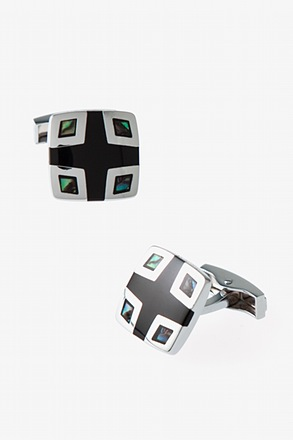 _Iridescent Corner Square Mother Of Pearl Cufflinks_