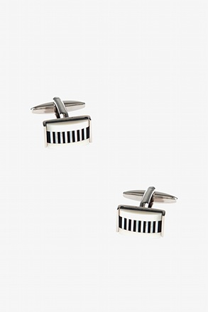 _Mini Lined Rectangular Mother Of Pearl Cufflinks_