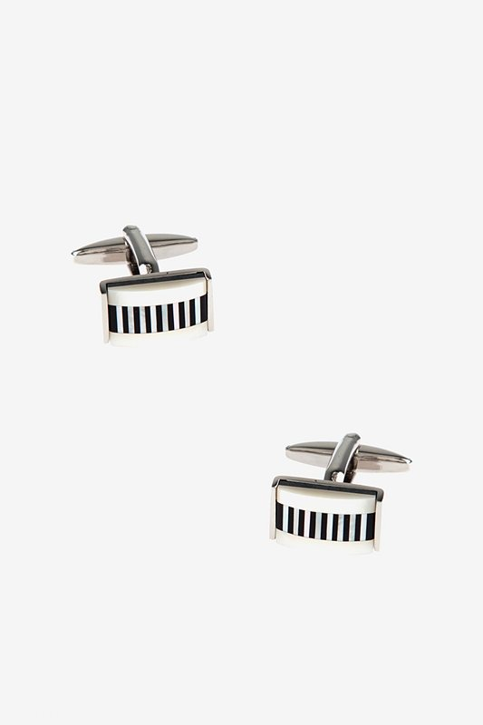 Mini Lined Rectangular Mother Of Pearl Cufflinks Photo (0)