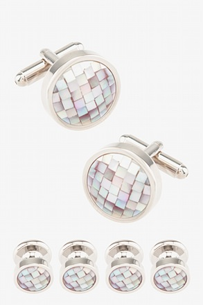 Mosaic Round Mother Of Pearl Cufflink & Stud Set