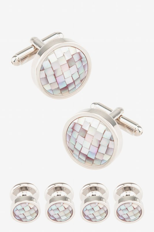 Mosaic Round Mother Of Pearl Cufflink & Stud Set Photo (0)