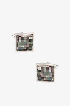 _Mosaic Square Mother Of Pearl Cufflinks_