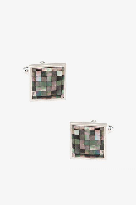 Mosaic Square Mother Of Pearl Cufflinks Photo (0)
