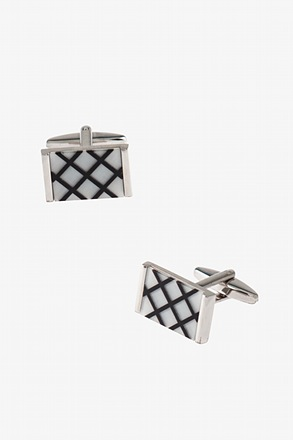Rectangular Striped Squares Cufflinks