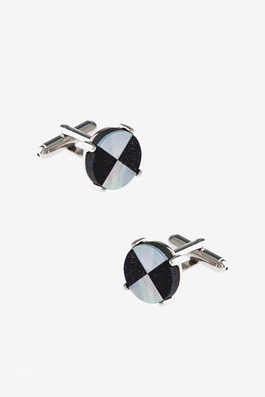 Round Double Pattern Mother Of Pearl Cufflinks Photo (0)