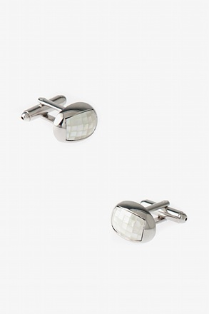 _Rounded Patterned Oval Cufflinks_