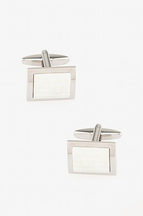 Rounded Rectangle Mosaic Mother Of Pearl Cufflinks