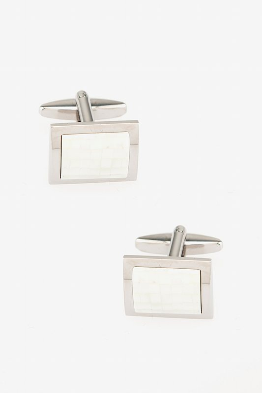 Rounded Rectangle Mosaic Mother Of Pearl Cufflinks Photo (0)
