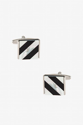 _Simple Lines Square Mother Of Pearl Cufflinks_