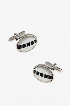 _Simple Oval Mother Of Pearl Cufflinks_