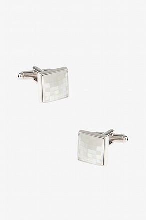 _Square Pearl Mosaic Mother Of Pearl Cufflinks_