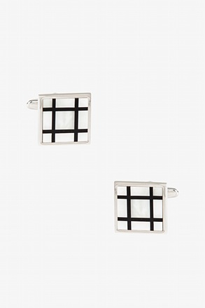 _Square Windowpane Mother Of Pearl Cufflinks_