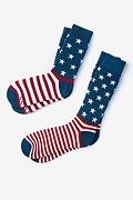 Multicolor Carded Cotton All-American His & Hers Socks