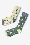 Multicolor Carded Cotton Avocado His & Hers Socks