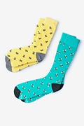 Multicolor Carded Cotton Bee His & Hers Socks