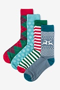 Multicolor Carded Cotton Christmas 4 Sock Pack