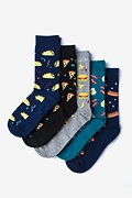 Multicolor Carded Cotton Fast Food 5 Sock Pack