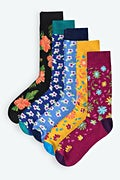Multicolor Carded Cotton Floral Sock Pack