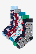 Multicolor Carded Cotton Happy Holidays Men's Sock Pack