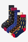 Multicolor Carded Cotton Hipsterville Sock Pack