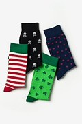 Multicolor Carded Cotton Holiday Time 4 Sock Pack