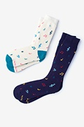 Multicolor Carded Cotton Music Note His & Hers Socks