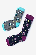 Multicolor Carded Cotton Owl His & Hers Socks