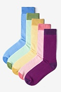 Multicolor Carded Cotton Pastel Solids Sock Pack