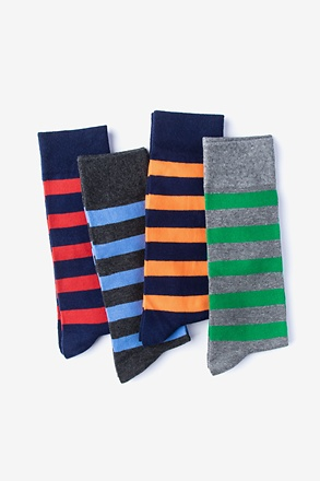 _Rugby Stripe 4 Multicolor Sock Pack_