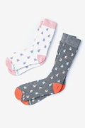 Multicolor Carded Cotton Sail Boat His & Hers Socks