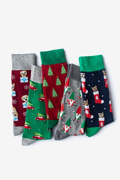 Image of Multicolor Carded Cotton Under the Mistle-Toes Men's Christmas Sock Pack