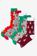 Multicolor Carded Cotton Under the Mistle-Toes Women's Christmas Sock Pack