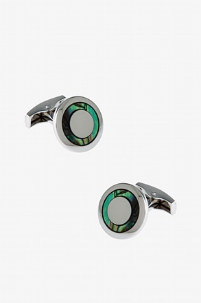 Iridescent Circle Multicolor Cufflinks