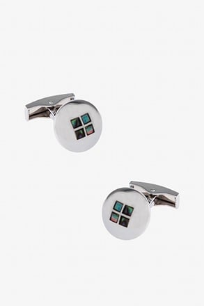 _Iridescent Windowpane Dome Cufflinks_
