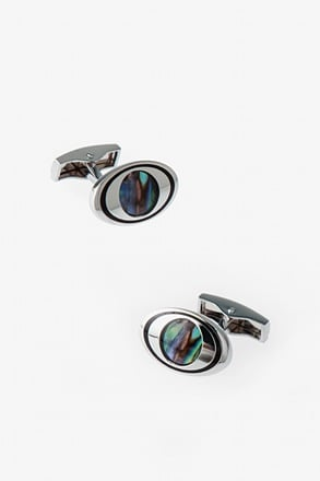 _Oval Iridescent Eye Cufflinks_