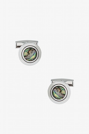 _Simple Iridescent Round Cufflinks_